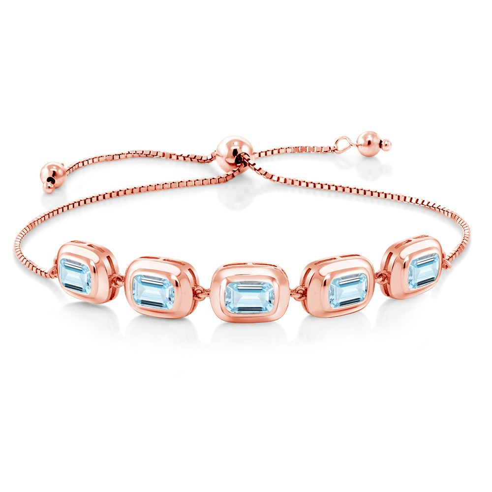 4.00 Ct Octagon Sky Blue Aquamarine 18K Rose Gold Plated Silver Bracelet by