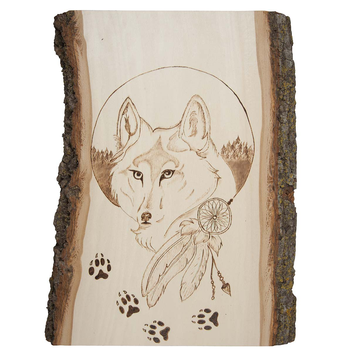 pyrography Wolf wooden box wood burned fire painting large power animal jewelry chest