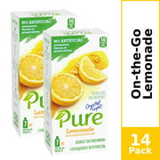 (14 Packets) Crystal Light Pure Lemonade Naturally Sweetened, On-The-Go, Caffeine Free Powdered Drink Mix