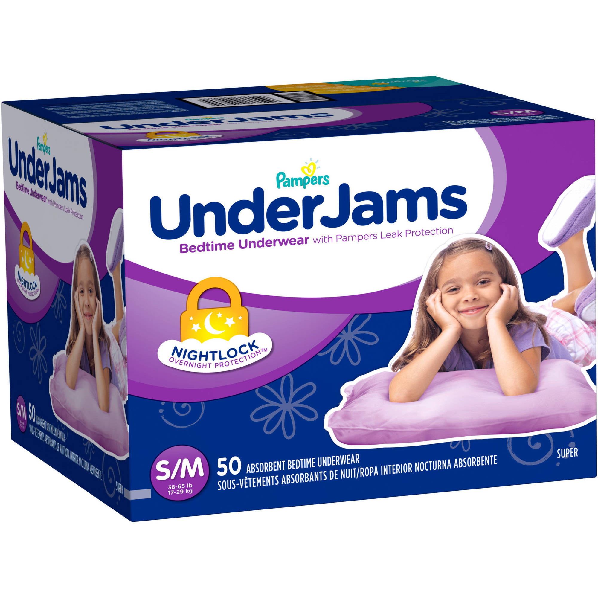 Pampers UnderJams Girls' Bedtime Underwear, Size S/M (Choose Pant Count)