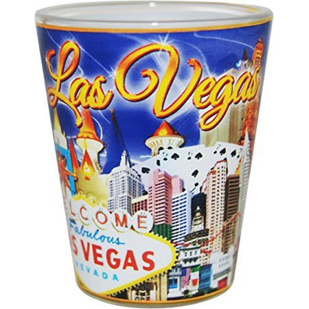 Las Vegas Nevada Blue and Gold Letters Collage Shot Glass ctm (Golf Shot Glasses)