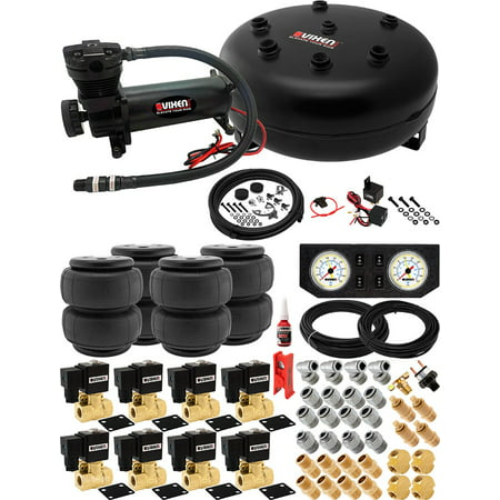 8 Valve Full Suspension System with 4 Gallon (15 Liter) Pancake Air Tank, 200 PSI Black Compressor, Four 2600-type Airbags, Gauges, Fittings and Hoses