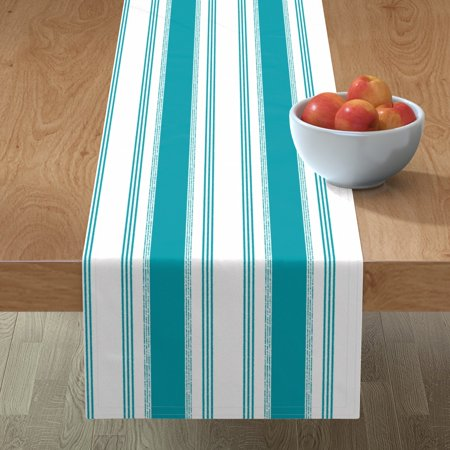 Table Runner French Ticking Stripe Blue Teal Peacock Decor Cotton Sateen ()