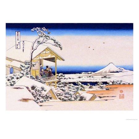View of Mount Fuji in Winter Print Wall Art By Katsushika Hokusai
