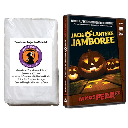 Halloween Digital Decoration DVD and Screen Kit includes AtmosfearFX Jack O Lantern Jamboree DVD + Reaper Bros 60