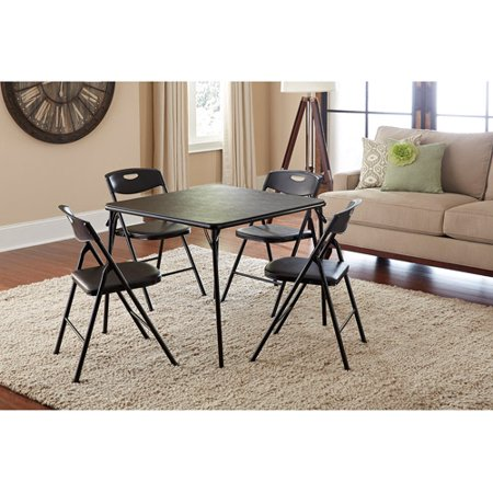 Cosco 5 piece folding table and chair set multiple colors for Foldable kitchen set