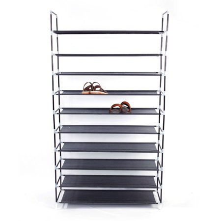 """10 Tier Shoe Organizer for Closets, Shoe Storage, Non-woven Fabric Shoe Shelf, Heavy Duty Boot Rack with Metal Tubes, Rustproof Shoe Stand for Entryway Foyer, 39"""" x 11"""" x 71"""", Black, Q4207 thumbnail"""