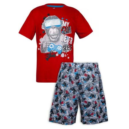 Sleep On It Gaming monkey pajama short set (2-piece set) (little boy & big boys)