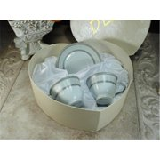 DLusso Designs 2H-01275 4Pc Espresso Set In Heart Box Silver, Pack Of - 3.