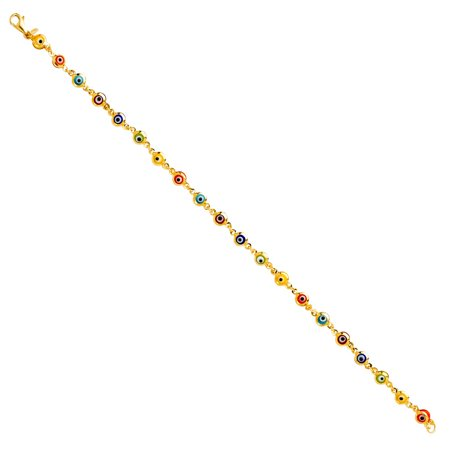 Solid 14k Yellow Italian Gold Rainbow Multi Color Evil Eye Bracelet Round Domed High Polish Links Chain 7 inch.