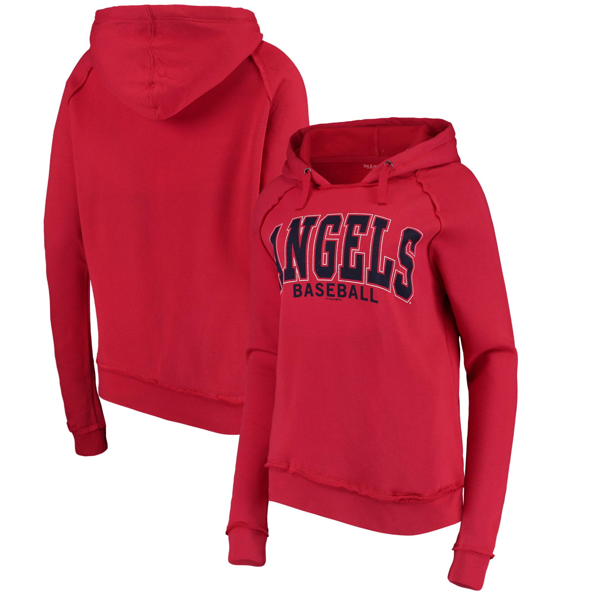 Women's 5th & Ocean by New Era Red Los Angeles Angels Defense Raglan Pullover Hoodie