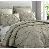 Estellar 3pc Light Grey Comforter Set Queen Size Pinch Pleat Pattern Down Alternative Pintuck Bedding by Cozy Beddings