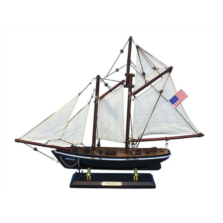 "America 16"" - Wooden Model Sailboat - Ready To Display -Model Sailing Yacht - Sailboat Decor - Not a Model Ship Kit - Yacht Model - Americas Cup Mod"