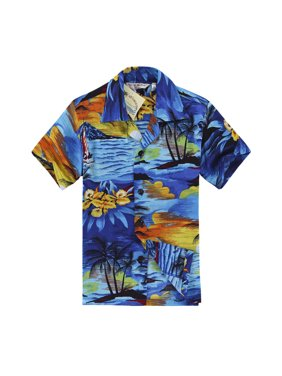 e10f4e9d6 Free shipping. Product Image Boy Hawaiian Aloha Shirt in Blue Sunset Size 12