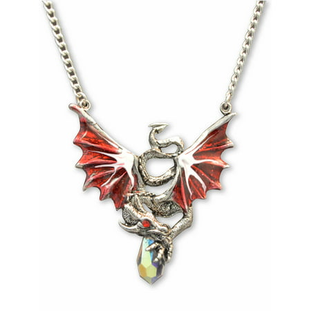 Red Dragon Holding Crystal Medieval Renaissance Pendant Necklace by Real Metal Jewelry - Medieval And Renaissance Clothing