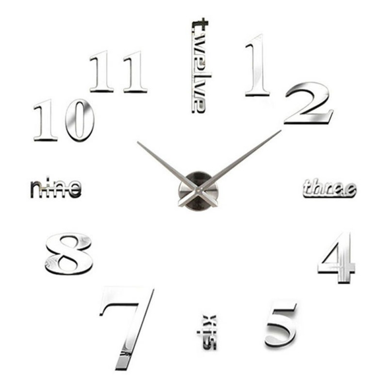 Details about  /Fashion Frameless Mirror Wall Clock DIY Mural Decal Home Living Room Decor
