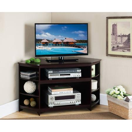 45 cherry wood corner entertainment center tv console stand with storage shelves - Corner Entertainment Center