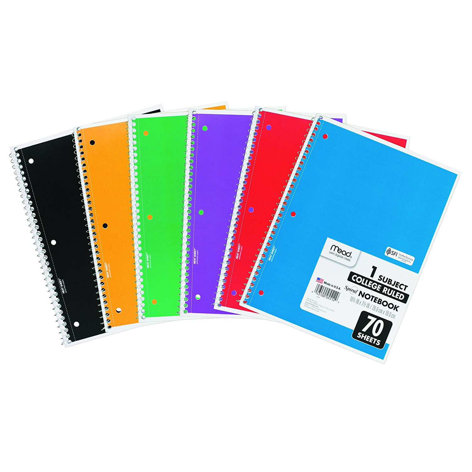 05512 Spiral Bound Notebook, Perforated, College Rule, 10.5 x 7.5, White, 70 Sheets, Available in assorted color covers. Color received may vary By Mead