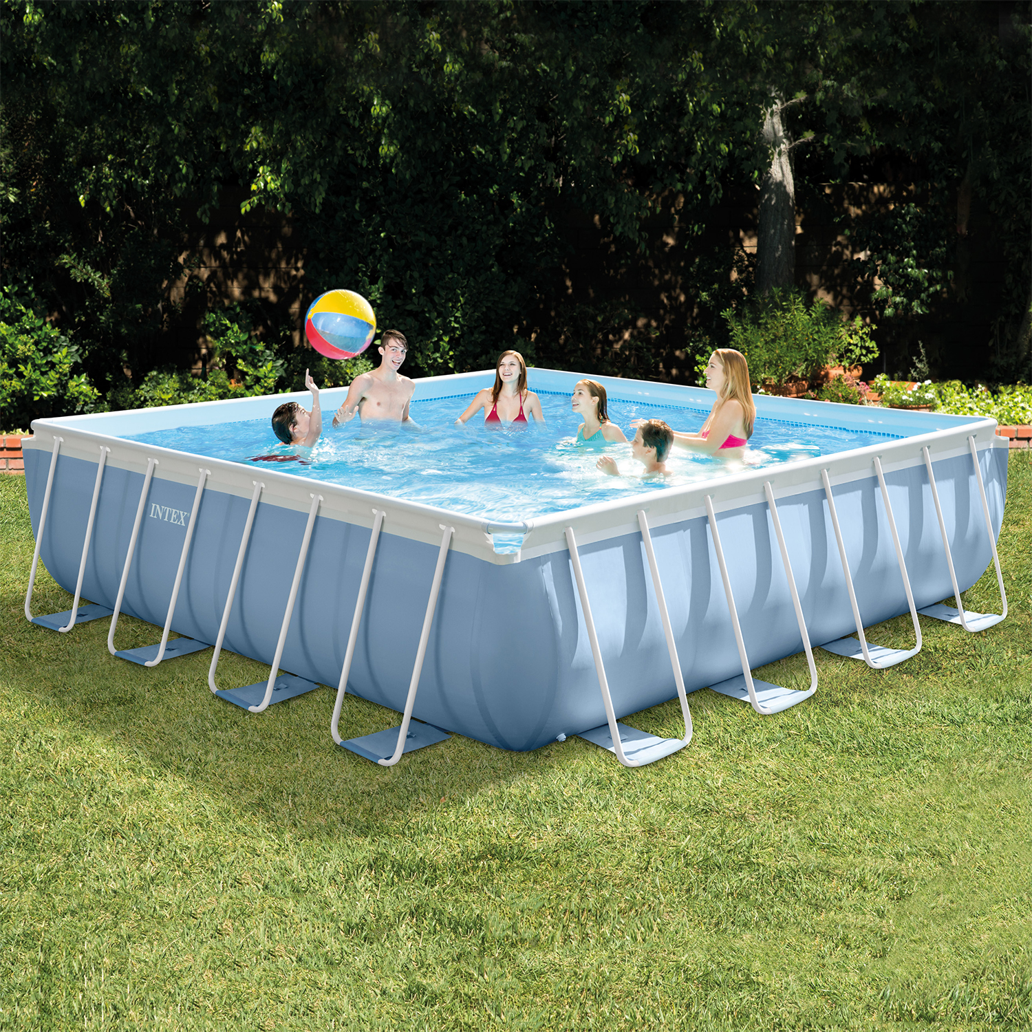 """Intex 16' x 16' x 48"""" Square Prism Frame Above Ground Pool with Filter Pump"""