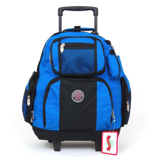 "18"" Wheeled Backpack Roomy Rolling Book Bag W/ Handle Carry on Luggage Back Pack Royal Blue One Size"