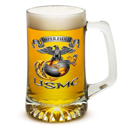 Beer Mugs with Handles – US Marine Corps Tankard Beer Mug – USMC - Semper Fidelis Marine Gifts for Men or Women – Beer Glasses with Logo – Set of 4 (25 Ounces)