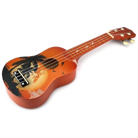 velocity toys classic ukulele 4 stringed toy guitar lute musical instrument brown. Black Bedroom Furniture Sets. Home Design Ideas