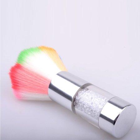 Dust Remover Crystal Rhinestone Handle Rainbow Hair Nail Art Brush Glitter Powder Sequins Cleaning Beauty (Handle Nail Brush)