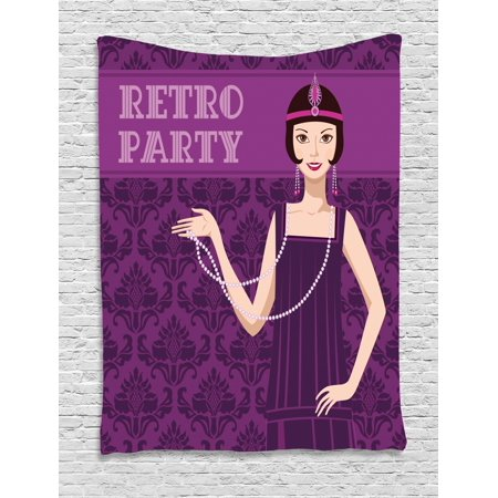 Pin up Girl Tapestry, 20s Style Short Hair Flapper Girl with Necklace and Hair Band, Wall Hanging for Bedroom Living Room Dorm Decor, 60W X 80L Inches, Pale Peach Purple and Plum, by Ambesonne