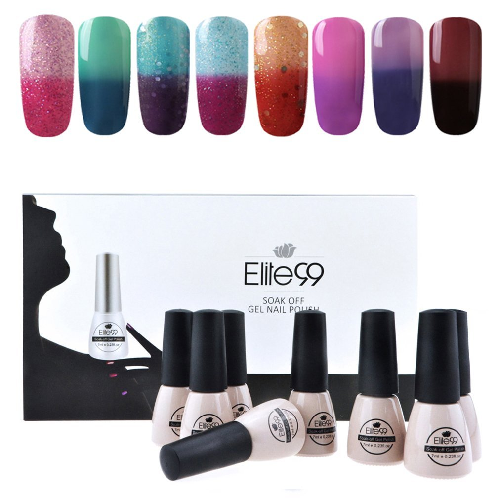 Elite99 Temperature Color Changing Gel Nail Polish Kit 8 Colors, Soak Off UV LED Nail Polish Set Nail Art C048