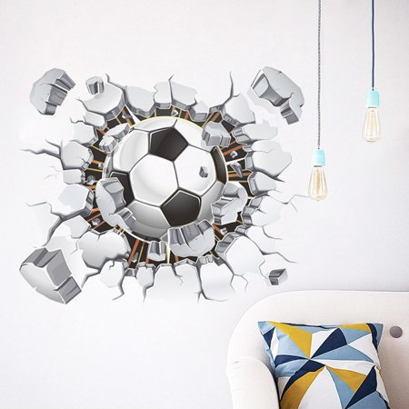 Soccer Wall (3D Soccer Ball Football Wall Sticker Decal Kids Bedroom Home Room Decor Sport )