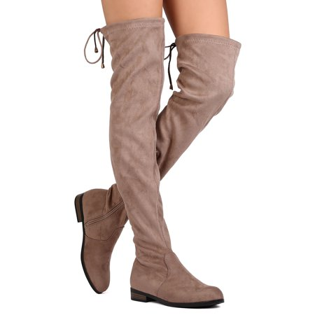 New Women Refresh Miles-01 Faux Suede Thigh High Drawstring Riding Boot - Red Thigh High Boots For Halloween