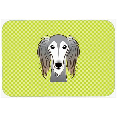 Checkerboard Lime Green Saluki Mouse Pad, Hot Pad or Trivet BB1291MP