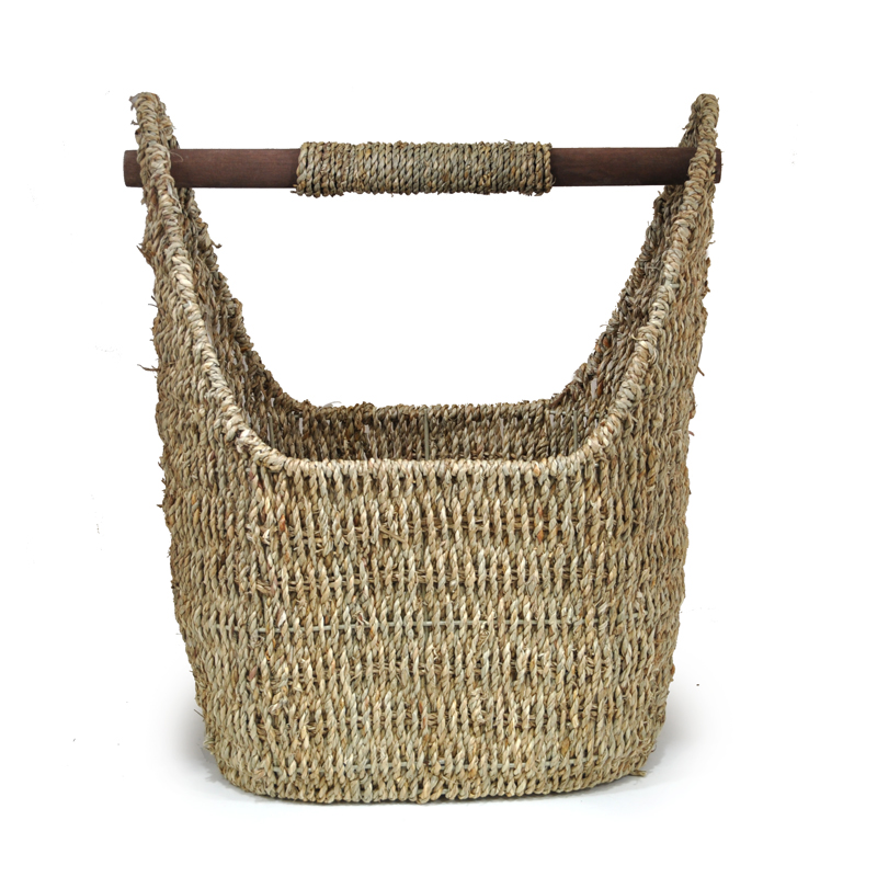 Kalani Large Sea Grass Utility Basket with Wood Handle 15in
