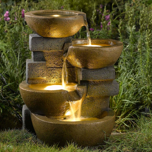 Jeco Inc. Resin/Fiberglass Zen Tiered Pots Fountain with LED Light