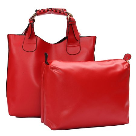 2Pcs Meigar Fashion Women PU Leather Hobo Handbag Shoulder Bag Cross Body Shopping Large Bags](Red Riding Hood Purse)