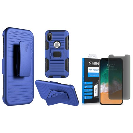 Insten Mag Defender Shock Absorbing 2-Layer  Hybrid Stand Hard Plastic/Soft Silicone Case Cover Holster For Apple iPhone X, Blue/Black (with Tempered Glass Privacy Screen Protector) (Mag 2 Apple)