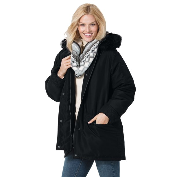 Woman Within Women's Plus Size Microfiber Down Parka Winter Coat
