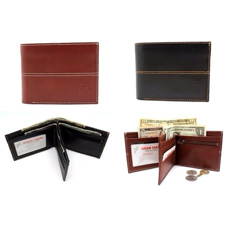 Black Men's Leather Bifold Wallet Center Flip Credit Card 3 Bill Slots with Gift Box