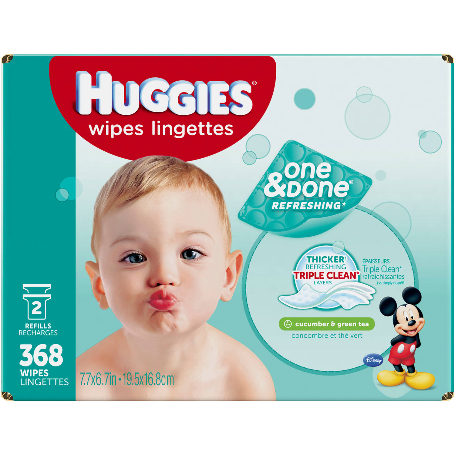 HUGGIES One & Done Refreshing Cucumber & Green Tea Baby Wipe Refills, 368 sheets