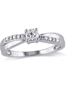 1/3 Carat T.G.W. Created White Sapphire and Diamond-Accent Sterling Silver Cross-Over Engagement Ring