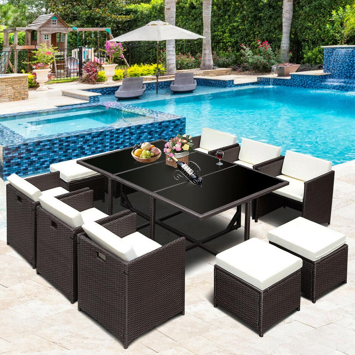 1a9317ee37e Costway 11 PCS Outdoor Patio Dining Set Metal Rattan Wicker Furniture Garden  Cushioned - Walmart.com