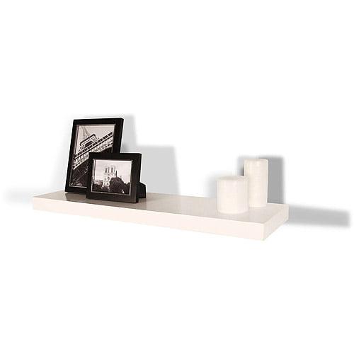 "Square Edge Hidden Bracket Shelf, White, 36"""