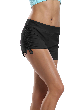 Black w// Pink Line Rouched Stretchy Bikini Bottoms Swimwear Boardshorts XL-5XL
