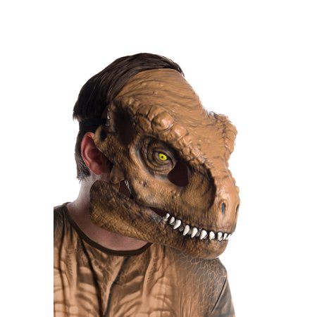 Jurassic World: Fallen Kingdom Tyrannosaurus Rex Movable Jaw Adult Mask Halloween Costume - Halloween Masks Coloring Sheets