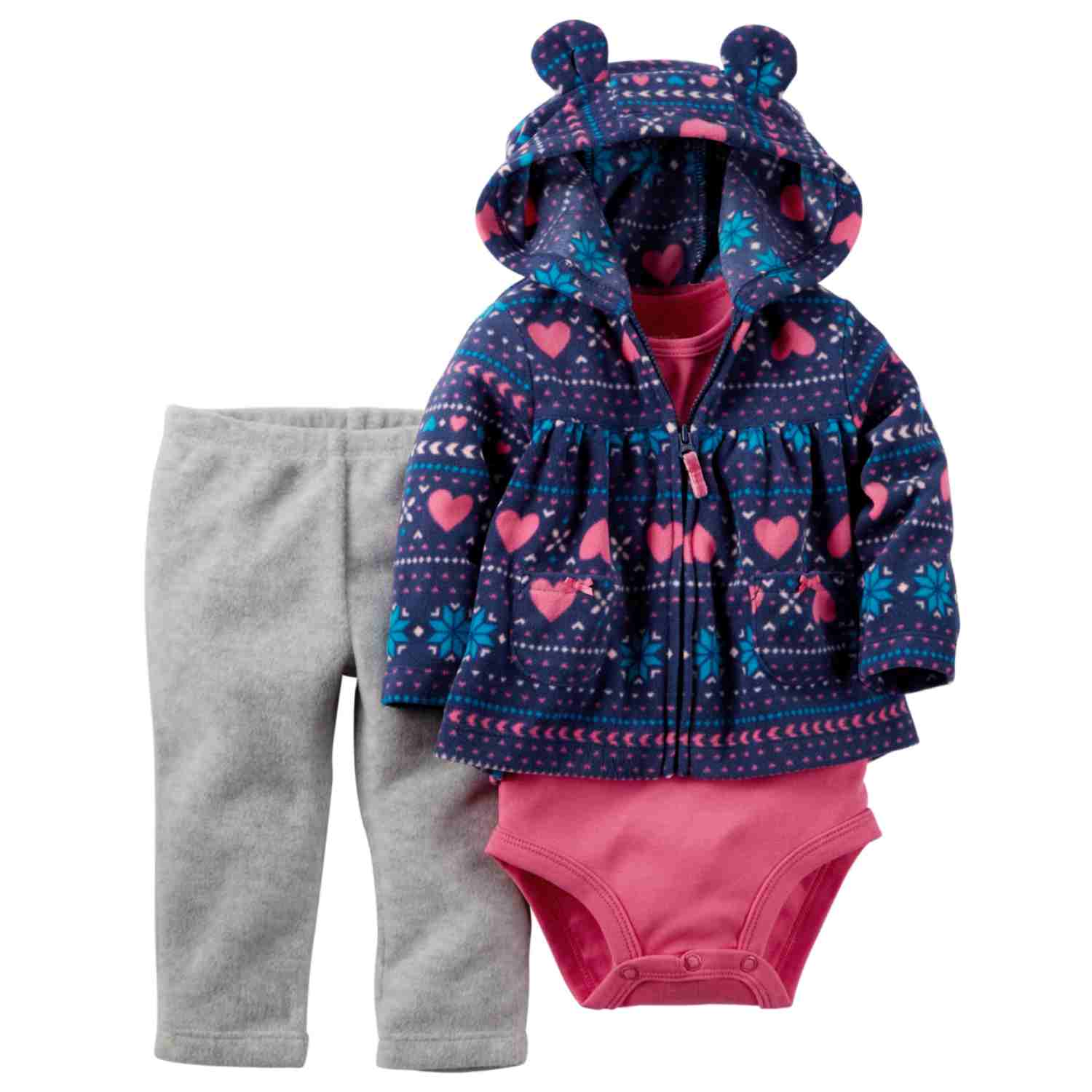 Carters Infant Girls 3 Piece Nordic Heart Outfit Creeper Pants & Hoodie Jacket