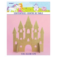 Magical Princess Castle Centerpiece Decoration, 14 in, Gold Glitter, 1ct