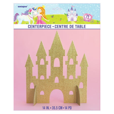 Magical Princess Castle Centerpiece Decoration, 14 in, Gold Glitter, 1ct (Beach Theme Centerpiece Ideas)