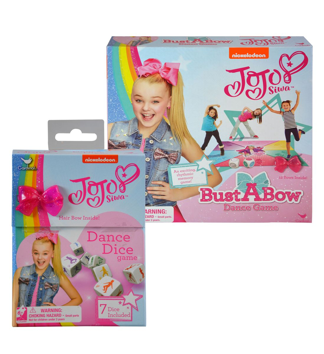 JoJo Siwa Dance Dice Board Game (7pc Set) and Bust A Bow Dance Game (2 Items)
