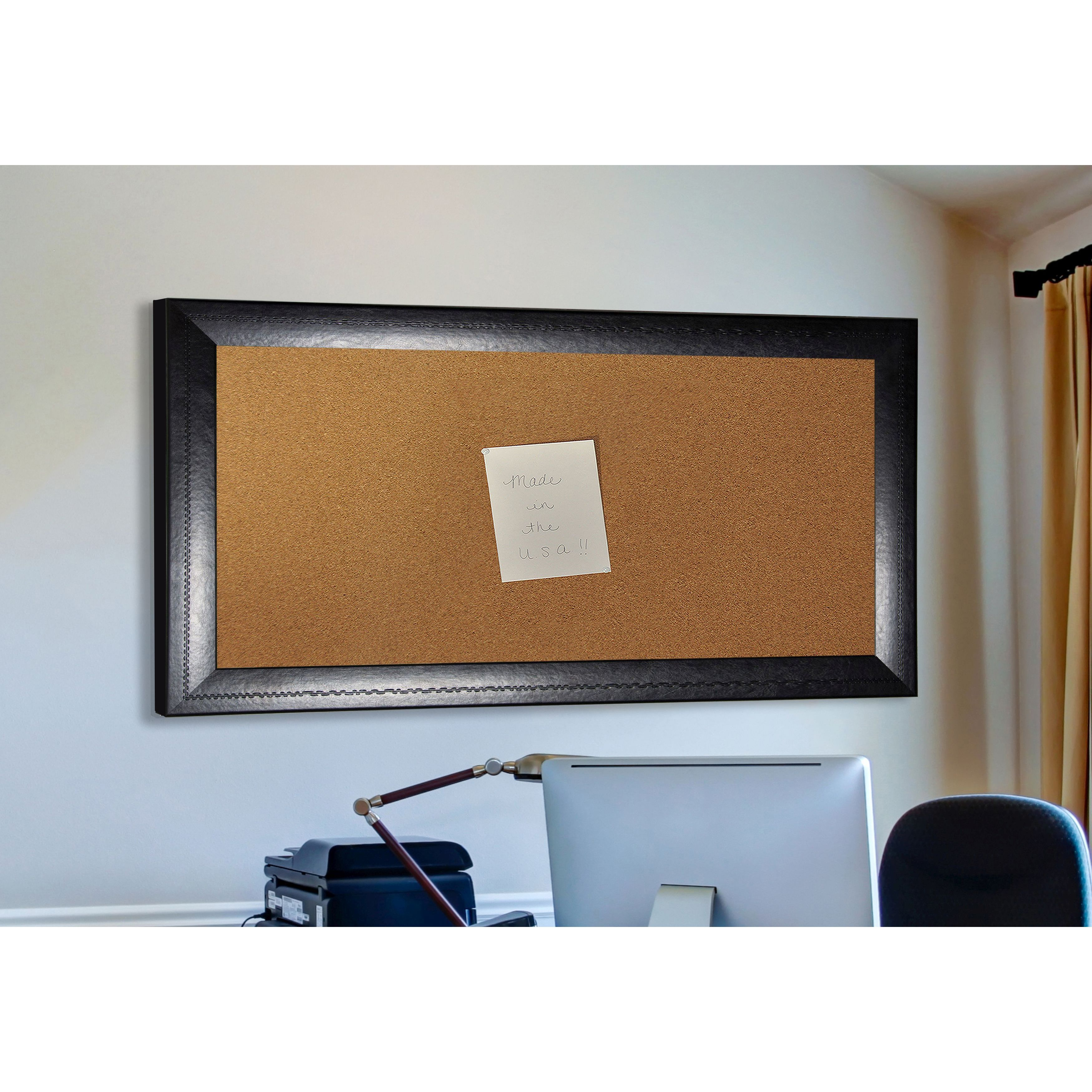 Rayne Mirrors American Made Rayne Stitched Black Leather Corkboard