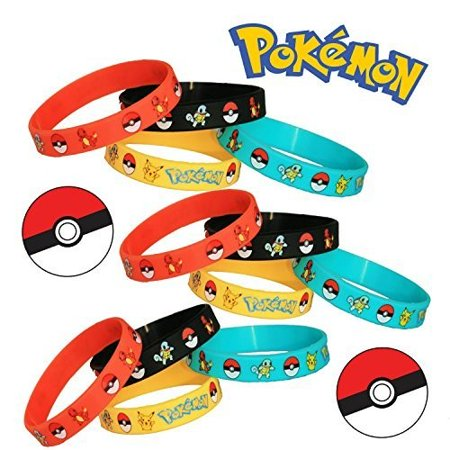 24 Pieces Pokemon Wristband Bracelet. Perfect Gift for Party Supplies Favors, Birthday, and Pokemon Fan!](Cheap Pokemon Party Supplies)